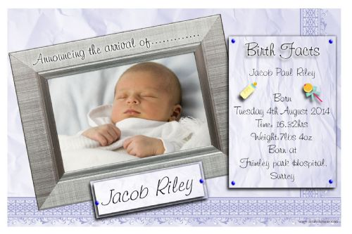 10 Personalised Baby Boy Birth Announcement PHOTO cards N109